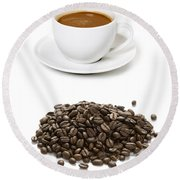 Round Beach Towel featuring the photograph Coffee Cups And Coffee Beans by Lee Avison