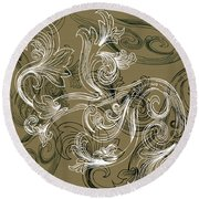 Coffee Flowers 2 Olive Round Beach Towel