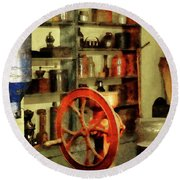Round Beach Towel featuring the photograph Coffee Grinder And Canister Of Sugar by Susan Savad