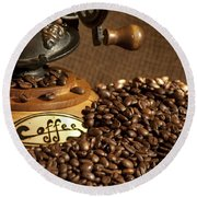 Coffee Grinder With Beans Round Beach Towel