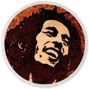 Coffee Painting Bob Marley Round Beach Towel