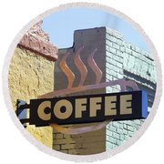 Coffee Shop Round Beach Towel