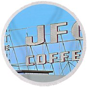 Coffee Sign Round Beach Towel