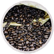 Coffee Unmilled  Round Beach Towel