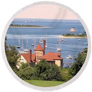 Coindre Hall Boathouse Round Beach Towel by Ed Weidman