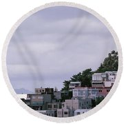 Coit Tower On Telegraph Hill, San Round Beach Towel