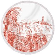 Coit Tower View From Russian Hill San Francisco Round Beach Towel