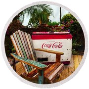 Vintage Coke Machine With Adirondack Chair Round Beach Towel by Jerry Cowart