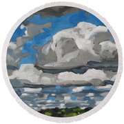 Cold Air Mass Cumulus Round Beach Towel by Phil Chadwick