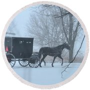 Cold Amish Morning Round Beach Towel