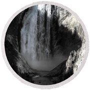 Round Beach Towel featuring the photograph Cold Cascade  by David Andersen
