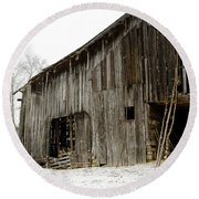 Cold Winter At The Barn  Round Beach Towel by Wilma  Birdwell