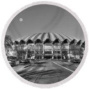 Coliseum B W With Moon Round Beach Towel