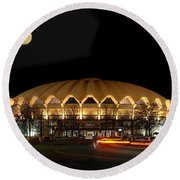 Coliseum Night With Full Moon Round Beach Towel