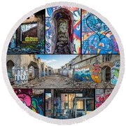 Round Beach Towel featuring the photograph Collage Of Graffiti by Steven Santamour