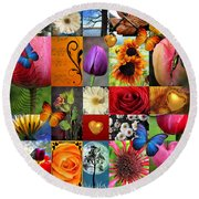 Collage Of Happiness  Round Beach Towel
