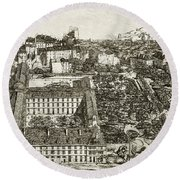 College Henri Iv And The Lycee Napoleon Round Beach Towel