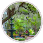 College Of Charleston Round Beach Towel