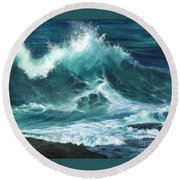 Colliding Tides Round Beach Towel