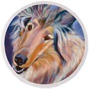 Collie Star Round Beach Towel