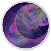 Round Beach Towel featuring the digital art Collision by Victoria Harrington
