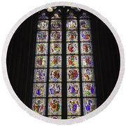 Cologne Cathedral Stained Glass Life Of Christ Round Beach Towel