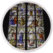 Cologne Cathedral Stained Glass Window Of The Three Holy Kings Round Beach Towel