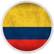 Colombia Flag Vintage Distressed Finish Round Beach Towel
