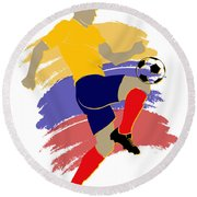 Colombia Soccer Player Round Beach Towel