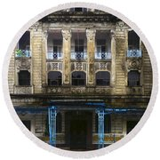 Round Beach Towel featuring the photograph Colonial Facade Merchant Street 8th Ward Central Yangon Burma by Ralph A  Ledergerber-Photography