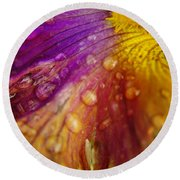 Color And Droplets Round Beach Towel