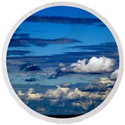 Color Burned Clouds Round Beach Towel