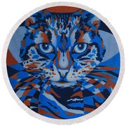 Color Cat IIi Round Beach Towel by Pamela Clements