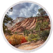 Round Beach Towel featuring the photograph Color Competition At Zion National Park by John M Bailey