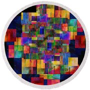 Color Fantasy - Abstract - Art Round Beach Towel by Ann Powell
