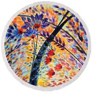 Color Flurry 3 Round Beach Towel by Holly Carmichael