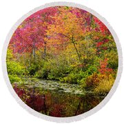 Round Beach Towel featuring the photograph Color On The Water by Mike Ste Marie