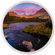 Color Over  Indian Peaks Round Beach Towel