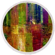 Color Panel Abstract Round Beach Towel