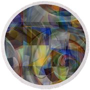 Color Patch Blue Round Beach Towel by rd Erickson