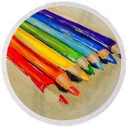 Color Pencils Round Beach Towel