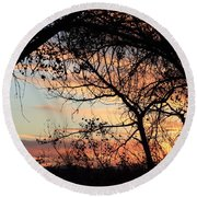 Color Through The Trees Round Beach Towel