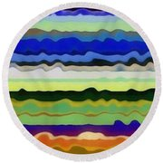 Color Waves No. 5 Round Beach Towel by Michelle Calkins