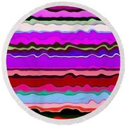 Color Waves No. 6 Round Beach Towel by Michelle Calkins