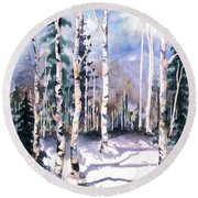 Colorado Aspens 2  Round Beach Towel