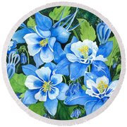 Colorado Columbines Round Beach Towel