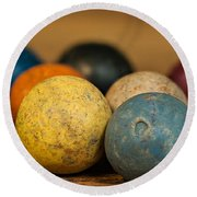 Colored Clay Marbles Round Beach Towel