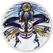 Colored Cultural Zoo B Sacred Scarab Round Beach Towel