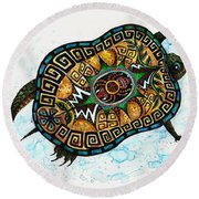 Colored Cultural Zoo C Eastern Woodlands Tortoise Round Beach Towel