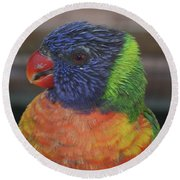 Colored Feathers Round Beach Towel